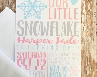 12 first birthday invitations, snowflake birthday invite, winter 1st birthday invitations, pink blue gray invites, custom 1st birthday