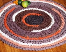 Brown Ombre with a Hint of Orrange and Yellow Handmade Crochet Round Rug Area Mat 30 inches OOAK Made to Order