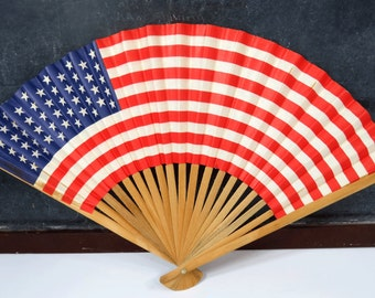 Vintage American Flag Hand Fan, Bamboo Wood & Paper, Patriotic 4th of July Folding Fan, Red, White, Blue