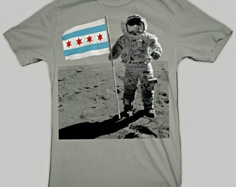 Chicago Flag Moon Man T-Shirt