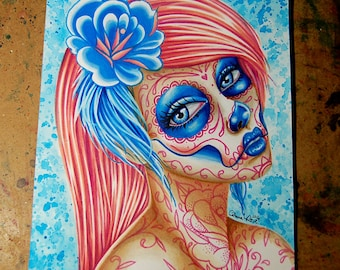 ORIGINAL Pigment Marker Drawing 8x10 inches Cotton Candy Day of the Dead Sugar Skull Girl Original Illustration