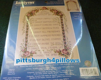 Janlynn - What Cancer Cann't Do - Counted Cross Stitch - Read Below -  14  Count - Aida Cloth - 8.25 x 12 - 0800479 - Complete Never Opened