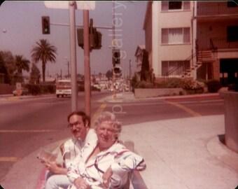 Vintage Photo, Miami Street Photo, Man & Woman at Bus Stop, Color Photo, Old Photo, Found Photo, Snapshot, Palm Trees, Snapshot