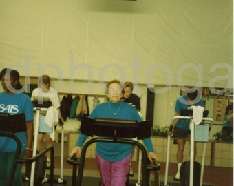 Vintage Photo, Woman on Treadmill, Color Photo, Found Photo, Old Photo, Snapshot, Family Photo, Vernacular Photo, 1980's Fashion