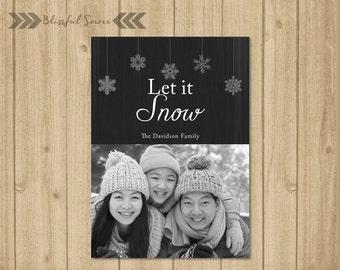 Custom Photo Christmas Card / Digital File / Christmas Card / Holiday Card / DIY Printable / Hanging Snowflakes
