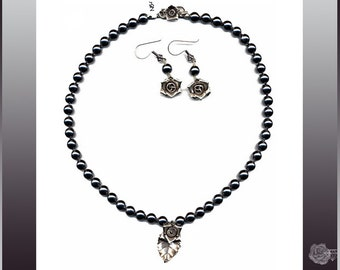 """18"""" Necklace Dark Gray South Sea Shell Pearls Hill Tribe Fine Silver Rose Leaf Center Rose S-Clasp And/Or Hill Tribe Rose Matching Earrings"""