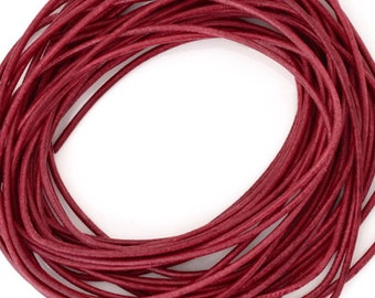 Leather-1.3mm Round Cord-Garnet-Made in Germany-1 Meter
