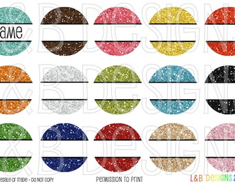 "1"" Bottle Cap Image Sheet - Editable Glitter Circles"