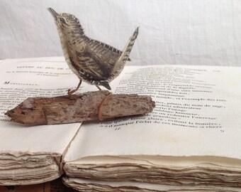 Sylvan Wren One - a tiny fabric wren on rustic twig