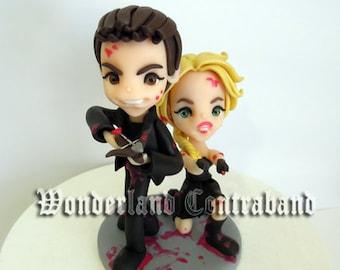 Zombie Apocalypse - Wedding Cake Topper - Standard Size - ORIGINAL OOAK Miniature Sculptures - Decor