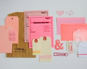 Pink Glitter Large Ampersand Tag + Embellishment Kit Collection . Listers Gotta List Planner Scrapbooking Mixed Media Collage Art Midori