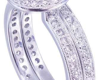 GIA H-VS2 18K White Gold Round Cut Diamond Engagement Ring and Band Bezel 1.55ctw