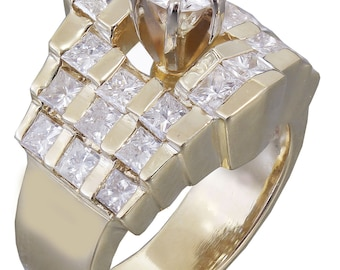 14K Yellow Gold Round and Princess Cut Diamond Engagement Ring Prong 1.50ctw