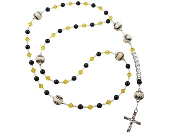 Black & Yellow Baseball First Communion Rosary Prayer Beads - Name Pearl Rosary crystal, Personalized, Baptism christening gifts boys girl