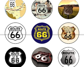 "Route 66 Magnets, Route 66 Pins, Route 66 Badges, 1"" Inch Flat Backs, Hollow Backs, Cabochons,  12 ct, Set 2"