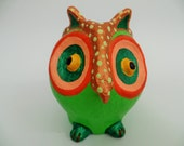 owl sculpture,paper mache owl,art owl,green orange owl,home decor,eco friendly