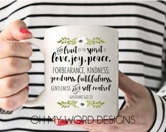 Scripture Coffee Mugs-Coffee Mugs-Fruits of the Spirit-Coffee Cups-Gifts-Bible Verse-Coffee Mug Quotes-Galatians 5:22-23