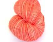 Hand-dyed orange sherbet worsted weight yarn   Round Table Yarns Lancelot in Cornwall