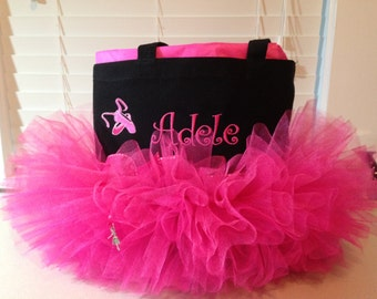 Tutu Tote - Personalized Tutu with Ballet Slippers Black and Hot Pink