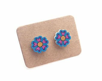 Hand Cut Flower Earrings