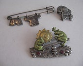 Vintage Jewelry Novelty Brooches 3 Pieces to Collect, Recycle, Alter, Re-Purpose