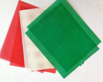 Plastic Canvas Sheets – 6 sheets – Green, Red & White - 7 mesh