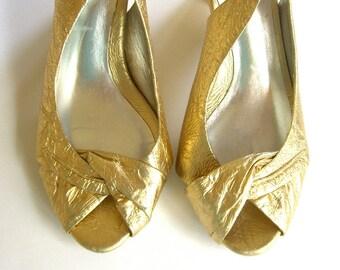 Vintage Peep Toe Shoes, Metallic Gold Sling Back Pumps, Nina Dolls Size 8, Retro 1950s