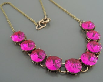 Statement Necklace - Hot Pink Necklace - Rhinestone Necklace - Gold Necklace - Layering Necklace - handmade jewelry