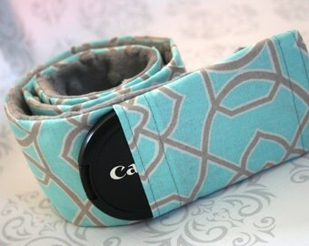 Padded Minky Camera Strap Cover - Photographer Gift - Light Blue and Gray Graphic with Gray Minky - Riley Blake Snapshot in Multi
