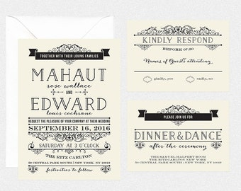 printable wedding invitation reception card rsvp card details card accommodation card vintage wedding edwardian invitation - MAHAUT