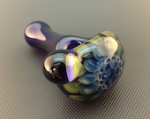 Cobalt Glass Silver and Gold Fumed Honeycomb Flower Tobacco Spoon Pipe