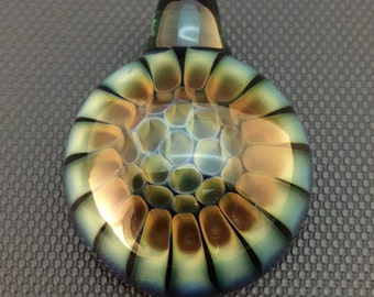 Lake Green Glass Silver and Gold Fumed Deep Cell Pattern Pendant