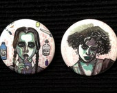 Wednesday Addams and Nancy Downs 38mm pinback buttons pack of two
