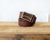 70s Rainbow Belt • Tooled Leather Belt • Brown Leather Belt • 70s Boho Brown Belt | BT209