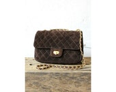 Quilted Bag • Chain Strap Purse • 80s Brown Leather Crossbody Bag • Suede Purse with Gold Braided Strap | B387