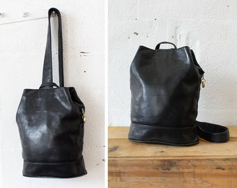 Leather Sling Bag • Black Leather Backpack • Black Leather Bag • Sling Bag Crossbody • 90s Backpack • Black Backpack Purse   B581