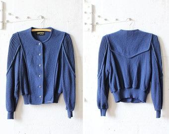 Geiger Jacket • 80s Blue Braid Knit Jacket S/M • Wool Sweater Jacket • Slouchy Wool Cardigan Jacket  | T398