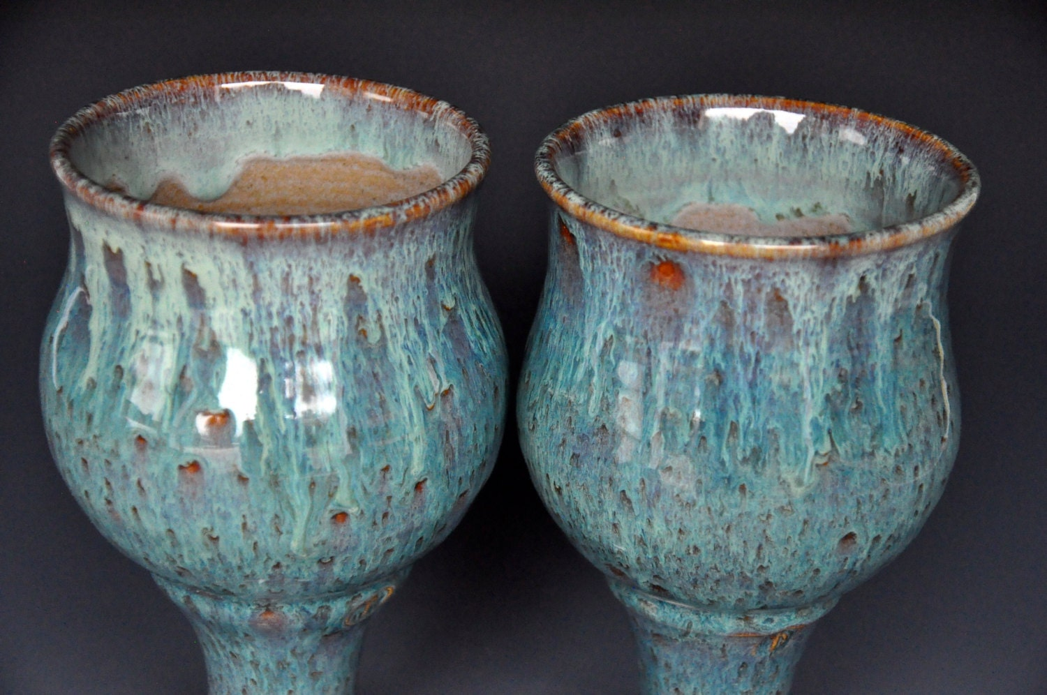 His And Her Goblets Pair Of Pottery Goblets Ceramic Wine