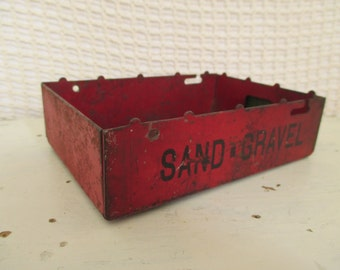 Vintage Salvaged Red Metal Toy Truck Part - Sand Gravel - Metal Box - Industrial, Garden, Studio Decor