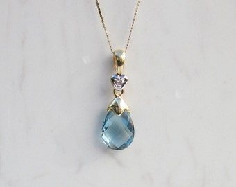 Estate 14k Solid Yellow Gold Blue Topaz and Diamond Accent Drop Necklace