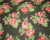 Gorgeous Pink and Red Oriental Poppies on Black Unused Vintage Cotton Fabric - 34 Inches Wide by 3 Yards Long
