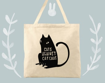 cat statement cotton canvas tote cats against cat calls women's rights tote