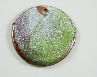 Green, Purple and White  Torch Enameled Pendant