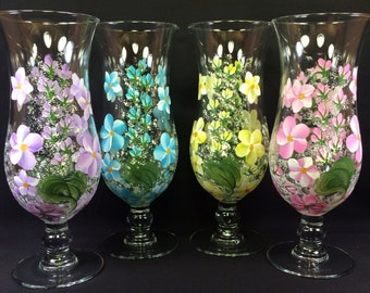 Hand Painted Hurricane Style Glass - Spring Garden