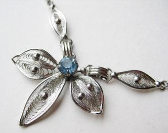 Vintage 50s Sterling Silver Filigree Blue Rhinestone Choker Necklace