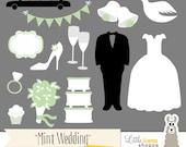 Mint Green Wedding Clip Art, Mint Bridal Shower Clipart, Mint Wedding Invitation Clipart, Mint Green Wedding, Commercial Use