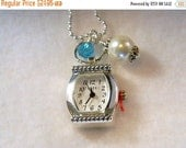 ON SALE Watch Pendant Necklace, Watch Pendant Charm, White Pearl Charm, Birthstone