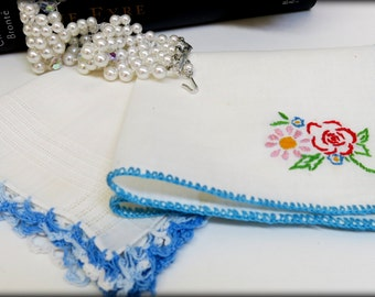 2 - Vintage Blue and White Hankies