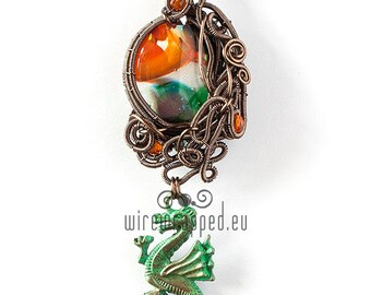 OOAK Fantasy green and orange glass dragon charm wire wrapped pendant