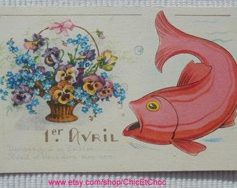 Unused Vintage French Postcard - Poisson D'Avril / April 1st